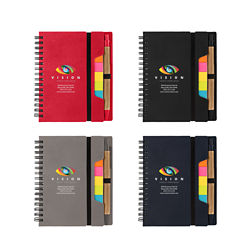 Customized Britebrand™ Spiral Notepad with Sticky Notes and Ruler