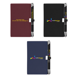 Customized Nifty Note Caddy and Soft Touch Pen - Full Color