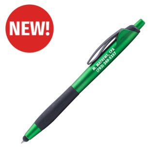 Customized Matte Metallic Laura Pen w/Black Grip & Stylus Tip