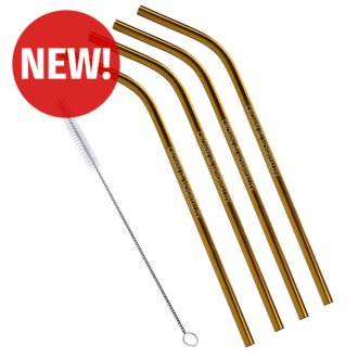 Customized 4-Pack Bent Stainless Steel Liv Straw-Copper/Gold