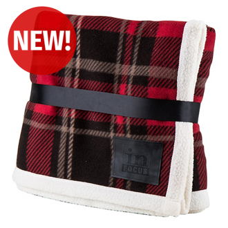 Customized Bundle-Up Red Plaid Sherpa Lined Blanket