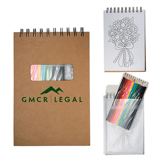 Customized Macy Spiral Notebook & Coloured Pencils Set