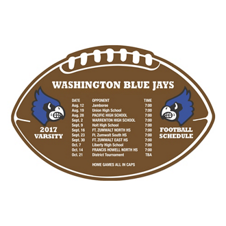 Customized Schedule Football Magnet - Full Color