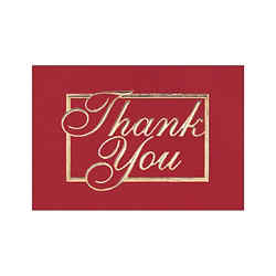 Customized Red and Gold Thank You Greeting Card