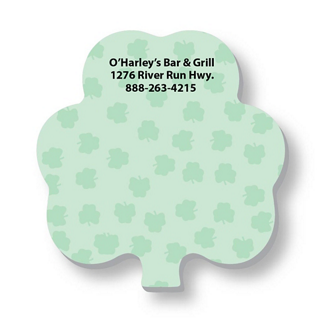 Customized 3x3 Adhesive Die-Cut Notepads, Shamrock