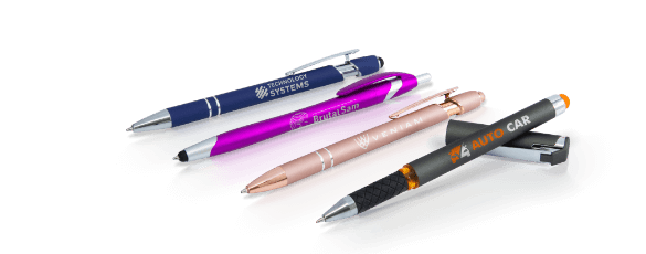 Personalized pens with company names and logos