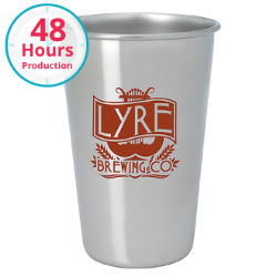 Customized Stainless Pint Glass - 16 oz