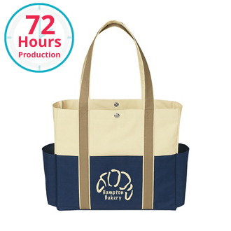 Customized Tri Color Polyester Tote with Side Pockets