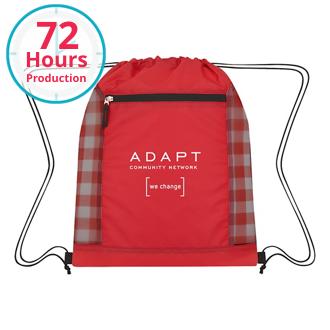 Customized Checkered Mesh Accent Drawstring Bag