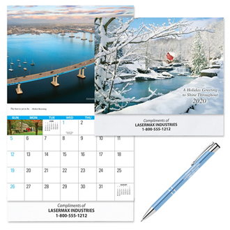 Customized Reflections Wall Calendar & Paragon Pen Gift Set