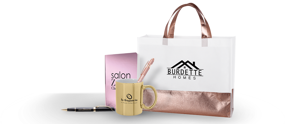 Custom Pens, Bags, and Mug Hero of Rose Gold Products