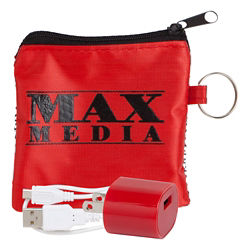 Customized Tech Pouch with Adapter and Cable