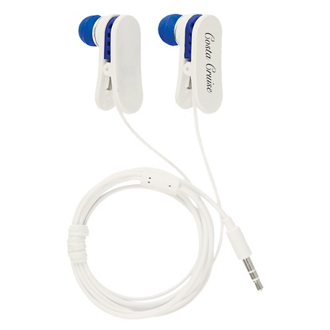 Customized Ear Buds with Shirt Clips