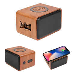 Customized Wood Bluetooth Speaker with Wireless Charging Pad