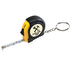 Customized Rubber Tape Measure Keychain with Laminated Label