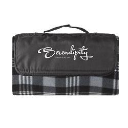 Customized Water Resistant Fleece Plaid Picnic Blanket