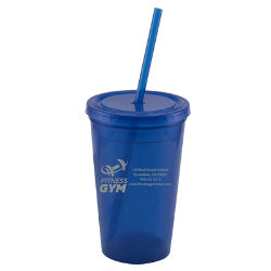 Customized Beach Wave Double Wall Tumbler w/ Lid & Straw-16oz