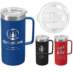 Customized 17 oz. Ted Travel Mug with Handle & Laser Engraved Imprint