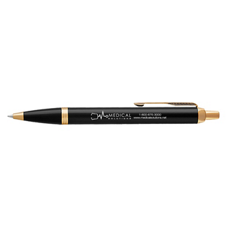 Customized Parker® IM Black Ball Pen with Gold Trim