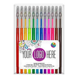 Customized Gel Writers™ Gel Pens - Extra Fine Point (12 Pack)