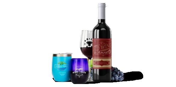 Custom wine glass, wine tumbler and stemless wine glass